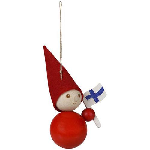 Tonttu Christmas Elf Ornament w/Finland Flag (B6826)