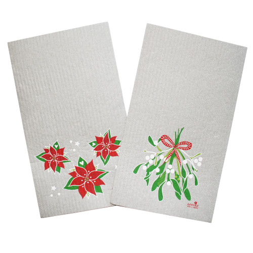 Swedish Dishcloth Set - Mistletoe & Poinsettia (DT1710)