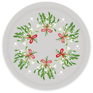 "Round Birch Tray - 15"" Diameter - Mistletoe & Poinsettia (BB3908)"