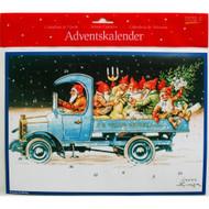 "Advent Calendar - Jenny Nystrom - Jultomtar in Truck - 9.75"" x 13.75"" (ACB3)"