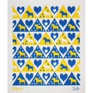 Swedish Dishcloth - Dalahorse and Hearts Blue/Yellow (87342)