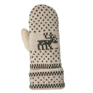 Wool Mittens - Nordic Moose White/Grey (88152)