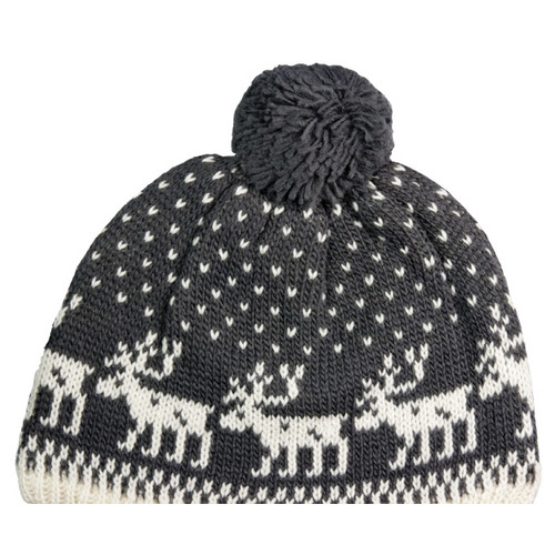 Wool Knit Hat - Moose Grey/White (88155)
