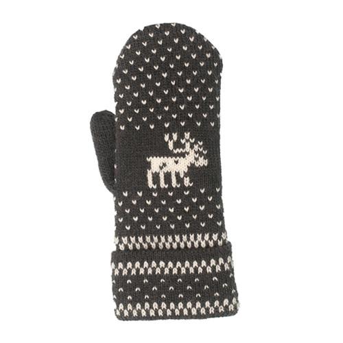 Wool Mittens - Nordic Moose Grey/White (88156)
