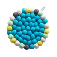 Wool Trivet/Pot Mat - Turquoise-multi (1391)