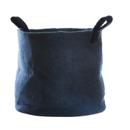 Hand Felted Wool Basket - Dark Grey - Large (1298)