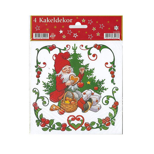 "Tomte with Pepparkakor Decals - Tile Stickers - 4 pc's - 6"" (630209B)"