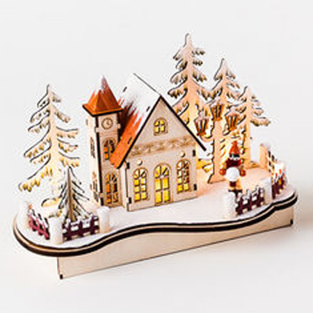 """Wooden Nordic Alpine House Scene w/Votive Candle - 10"""" (CY0028A)"""