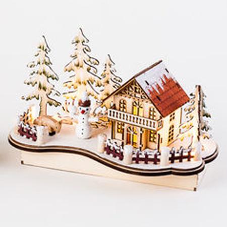 "Wooden Alpine Nordic House Scene w/Votive Candle - 10"" (CY0028B)"