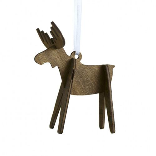 "Alpine Moose Ornament - Wooden - 3.5"" (8821889)"