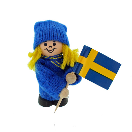 "Swedish Girl with Sweden Flag - Wooden Figure - 3"" (20903)"