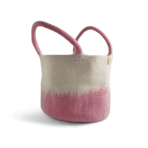 Hand Felted Wool Basket - Pink (1678)
