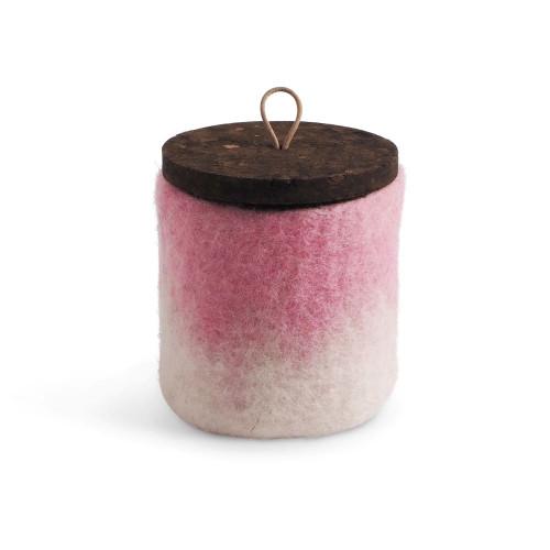 Felt Wool Jar w/Cork Lid - Pink (1704)