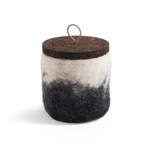 Felt Wool Jar w/Cork Lid - Dark Grey (1636)