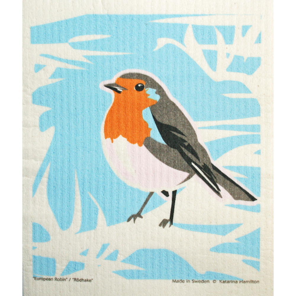 Swedish Dishcloth European Robin