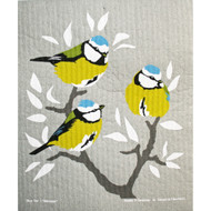 Swedish Dishcloth - Blue Cap Birds (221.22)