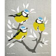 Swedish Dishcloth - Blue Cap Birds (221.22)