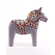 "Swedish Wooden Dala Horse - Grey - 6"" (SDH6-GR)"