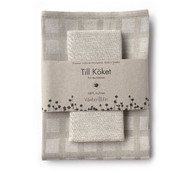 Linen Disktrasa Dishcloth and Towel Set - White/Natural