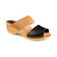 Karin Clog-Sandals - Black & Tan - Women's - Original Sole Collection ( 381-363)