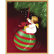 Angel Swinging On Ornament Boxed Christmas Cards - 16 cards and 16 Envelopes (86002)