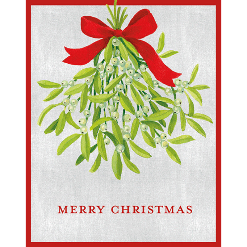 Boxed Christmas Cards.Mistletoe Mini Boxed Christmas Cards 16 Cards And 16 Envelopes