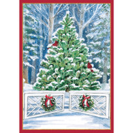 Snowy Tree and Gate Small Boxed Christmas Cards - 16 Cards & 16 Envelopes (89102)