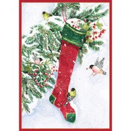 Stocking and Birds Small Boxed Christmas Cards - 16 Cards & 16 Envelopes (89104)
