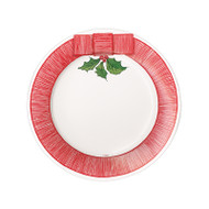 Ribbon Border Holly Paper Salad/Dessert Plates - 8 Per Package (15590SP)