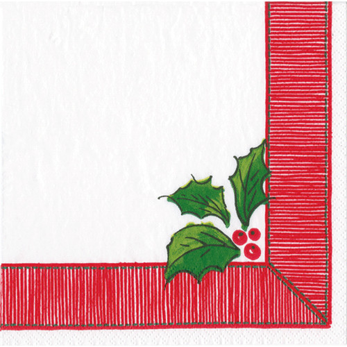 Ribbon Border Holly Paper Luncheon Napkins in Red - 20 Per Package (15590L)