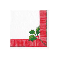 Ribbon Border Holly Paper Cocktail Napkins - 20 Per Package (15590C)
