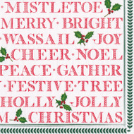 Yuletide Cheer Paper Luncheon Napkins in Red - 20 Per Package (15570L)
