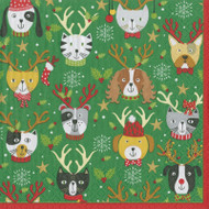 Pets In Antlers Paper Luncheon Napkins in Red - 20 Per Package (15450L)