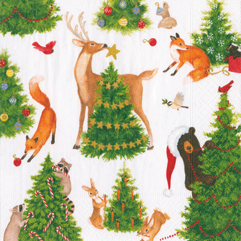 Christmas Paper Plates And Napkins.Forest Christmas Paper Luncheon Napkins 20 Per Package