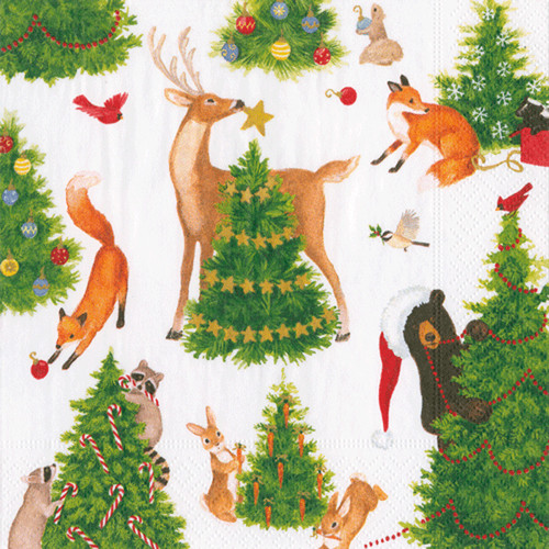 Forest Christmas Paper Luncheon Napkins in Red - 20 Per Package (15560L)