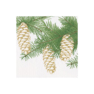 Pinecones Ivory Paper Cocktail Napkins - 20 Per Package (15500C)