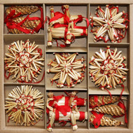 Straw Ornament Assortment - 35 Pc. Set (H1-3527)