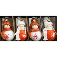 Nordic Tomte Santa Boys and Girls Ornaments - 4 Pack - Orange and White (H1-3124)