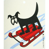 Swedish Dishcloth - Dog On Sled (56175)