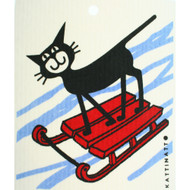 Swedish Dishcloth - Cat On Sled (56174)
