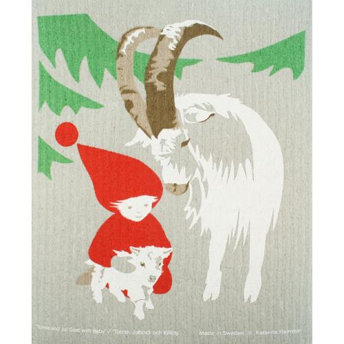 Swedish Dishcloth - Tomte and Goats (221.34)