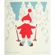 Swedish Dishcloth - Skiing Tomte (221.32)