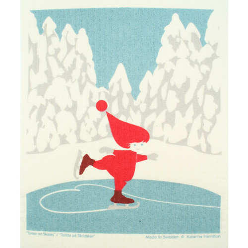 Swedish Dishcloth - Skating Tomte (221.31)