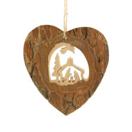 "Nativity Heart Bark Ornament - 3"" (290371)"