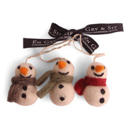 "Felt Mini Snowmen Ornaments - Set of Three - 2"" Tall - En Gry & Sif (11729)"