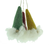 "Felt Nordic Gnome Ornaments - Colorful Set of Three - 3.5"" Tall - En Gry & Sif (12329)"