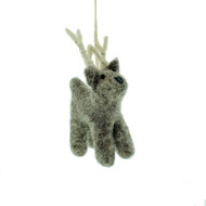 "Felt Mini Reindeer Ornament - Grey - 3.5"" Tall - En Gry & Sif (11429)"