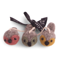 "Felt Mini Round Birds Ornaments - Colorful Set of Three - 2"" - En Gry & Sif (12529)"