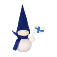 "Tonttu Christmas Elf - Suomi Pakkanen Sininen - 9cm - 3.5"" (B6743)"