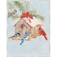 Snowy Birdfeeder Boxed Christmas Cards - 16 Cards & 16 Envelopes (89222)